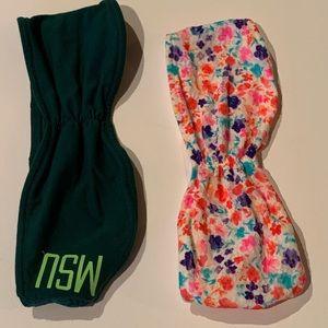 PINK VS M 2 bandeaus MI State Spartans  & floral